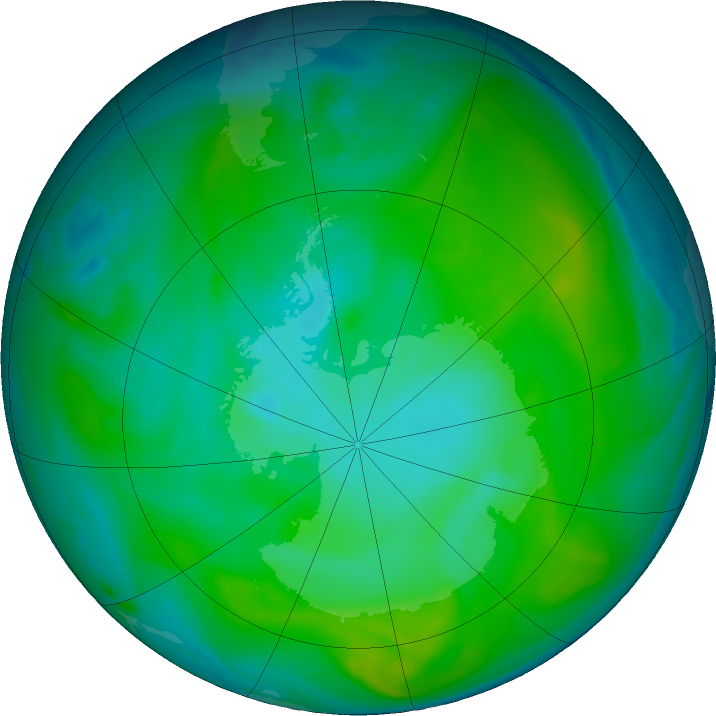 Antarctic ozone map for 14 January 2020