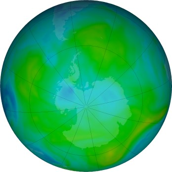 Antarctic ozone map for 2020-01-20