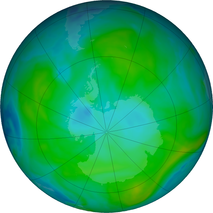 Antarctic ozone map for 20 January 2020