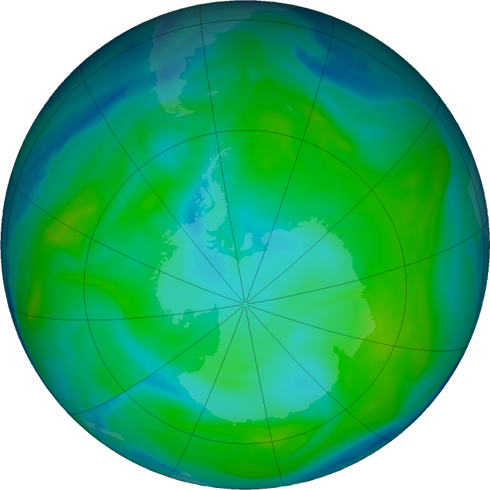 Antarctic ozone map for 25 January 2020