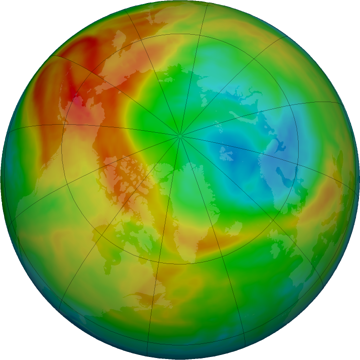 Arctic ozone map for 29 January 2020