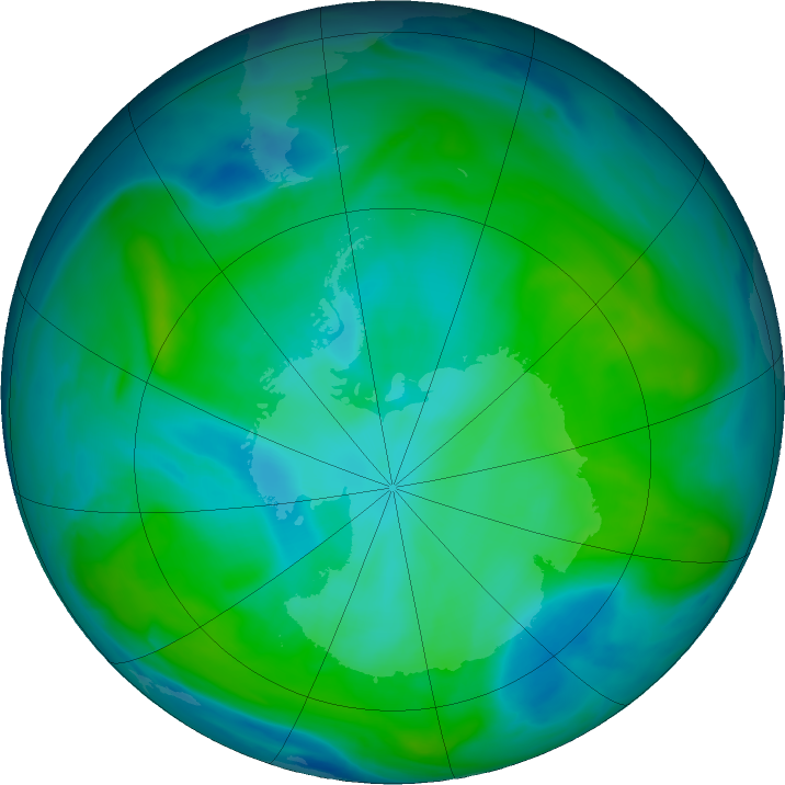 Antarctic ozone map for 31 January 2020