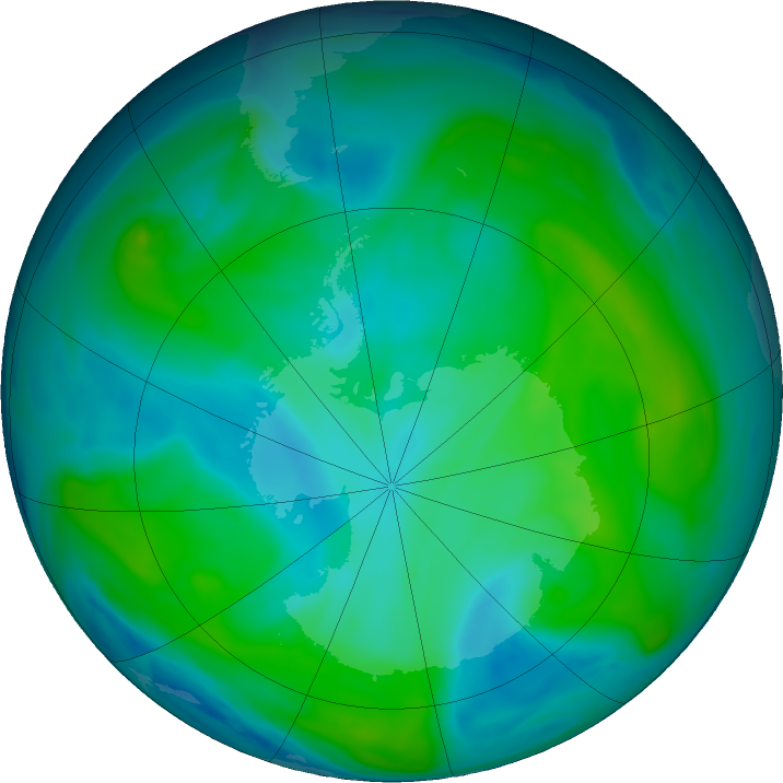 Antarctic ozone map for 01 February 2020