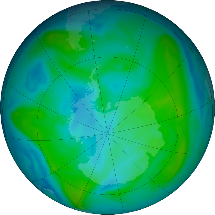 Antarctic ozone map for 03 February 2020