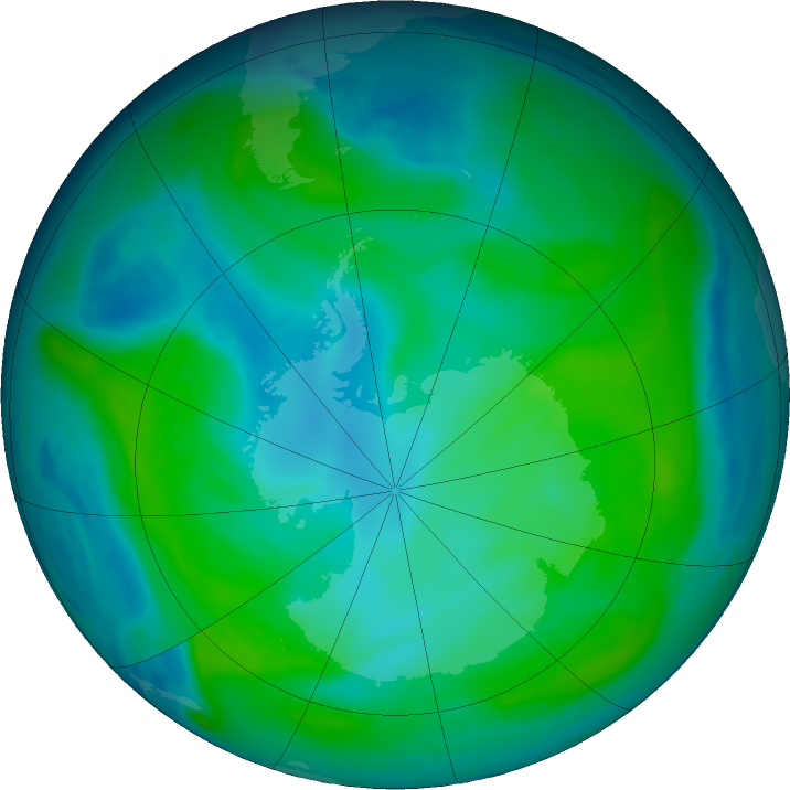 Antarctic ozone map for 04 February 2020