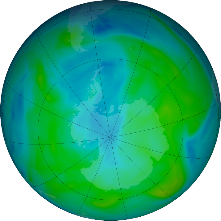 Antarctic ozone map for 06 February 2020
