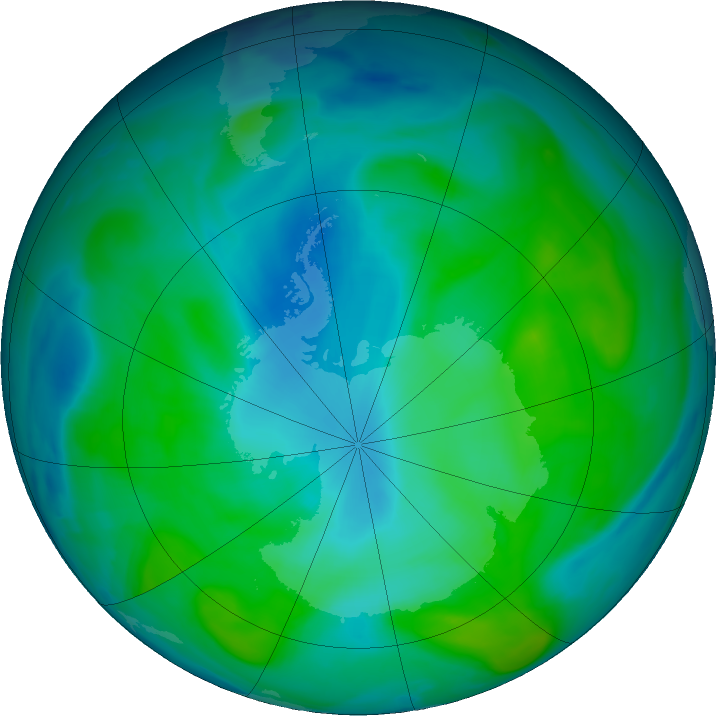Antarctic ozone map for 07 February 2020