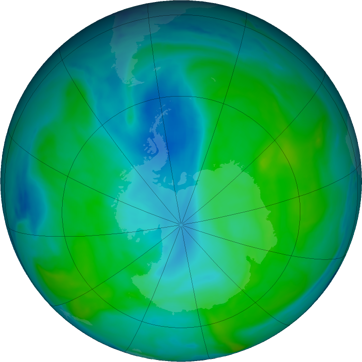 Antarctic ozone map for 08 February 2020