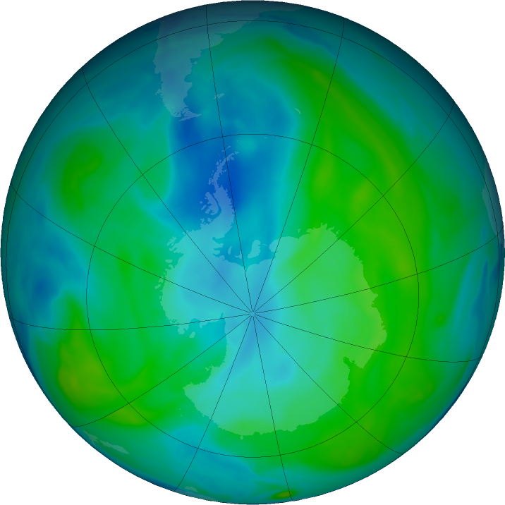 Antarctic ozone map for 09 February 2020