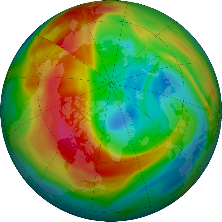 Arctic ozone map for 10 February 2020