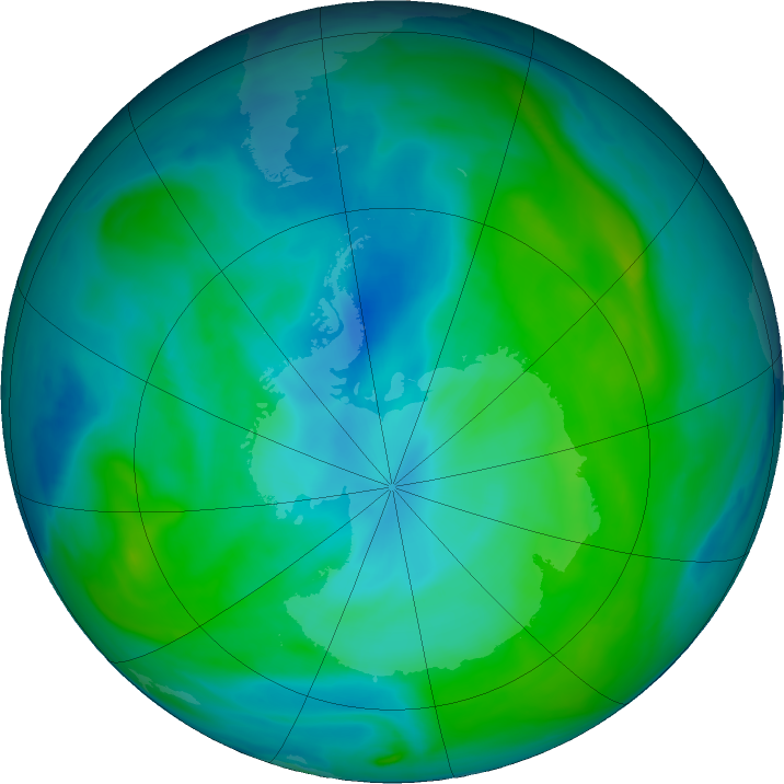 Antarctic ozone map for 10 February 2020