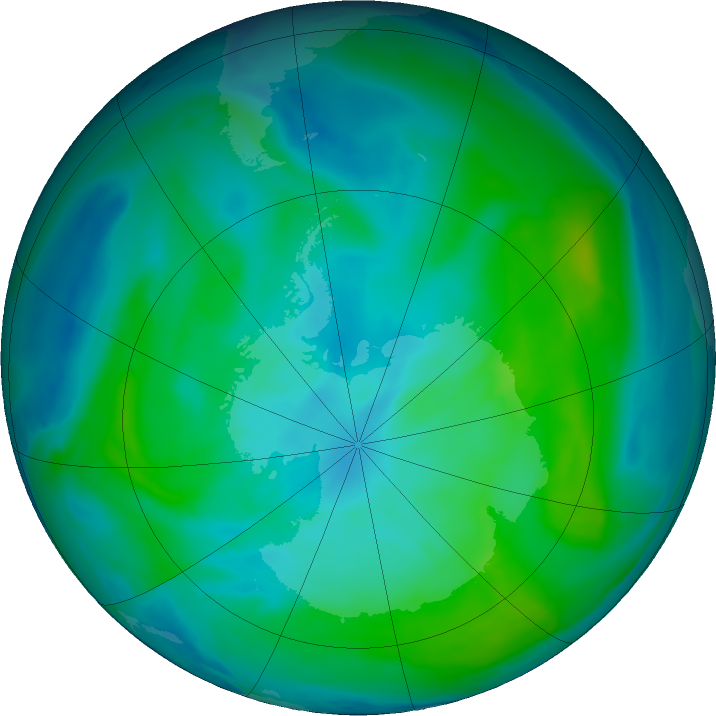 Antarctic ozone map for 12 February 2020