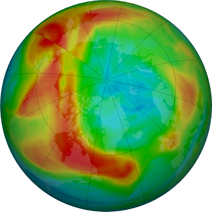 Arctic ozone map for 13 February 2020