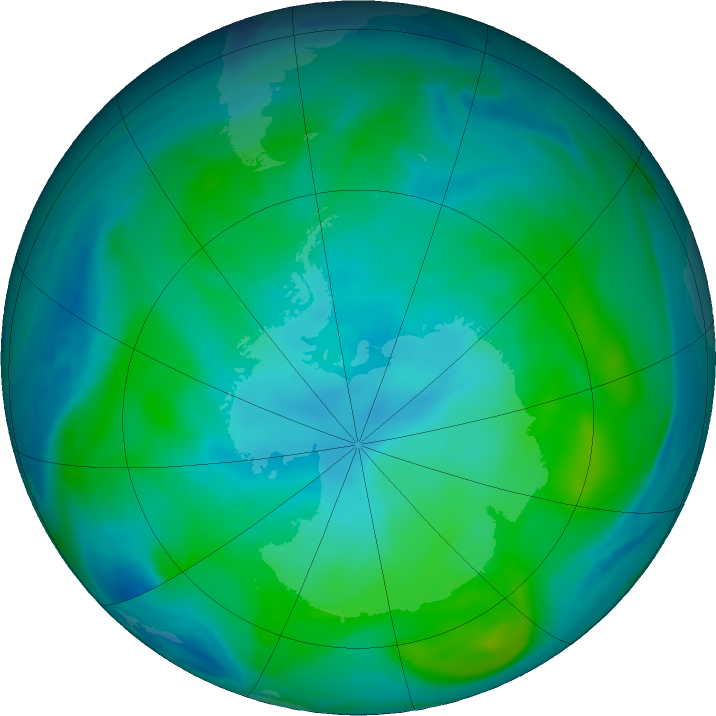 Antarctic ozone map for 15 February 2020