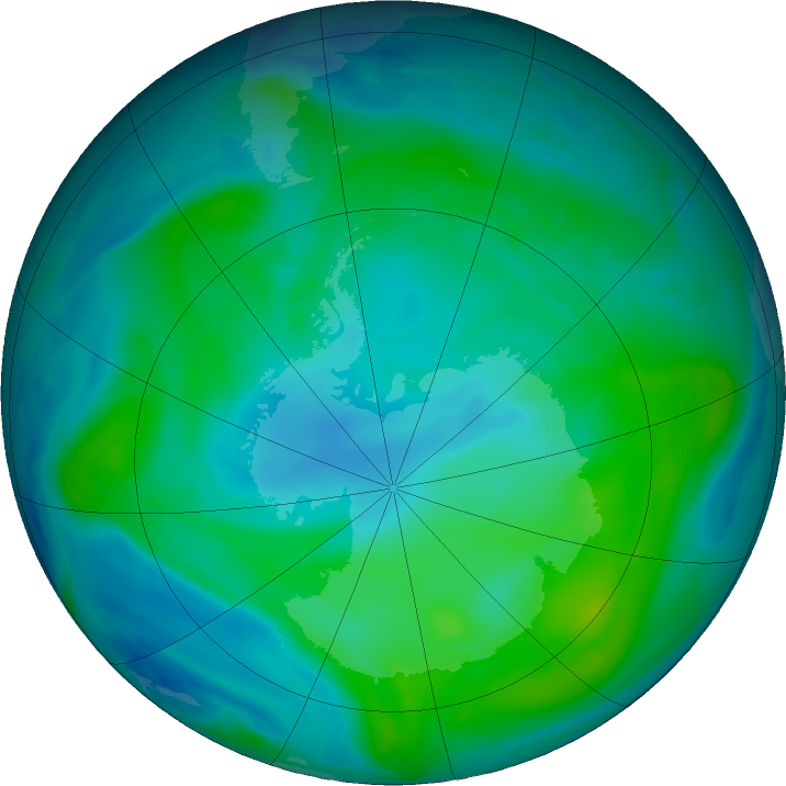 Antarctic ozone map for 17 February 2020