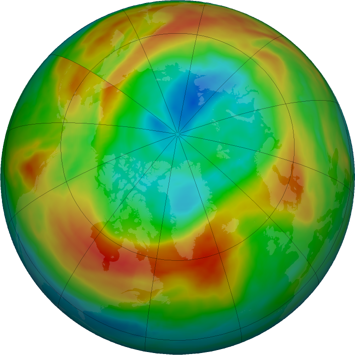 Arctic ozone map for 19 February 2020