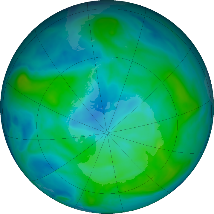 Antarctic ozone map for 20 February 2020