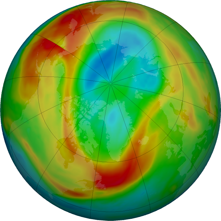 Arctic ozone map for 21 February 2020