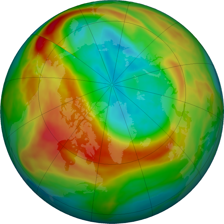Arctic ozone map for 25 February 2020