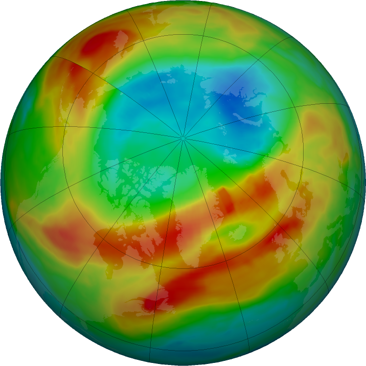 Arctic ozone map for 01 March 2020