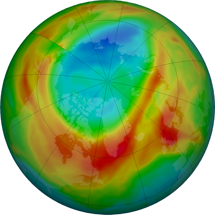 Arctic ozone map for 03 March 2020