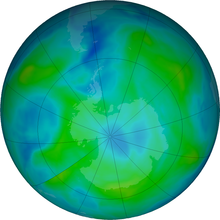 Antarctic ozone map for 04 March 2020