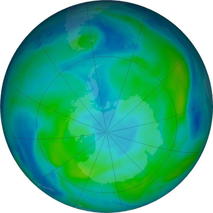 Antarctic ozone map for 07 March 2020