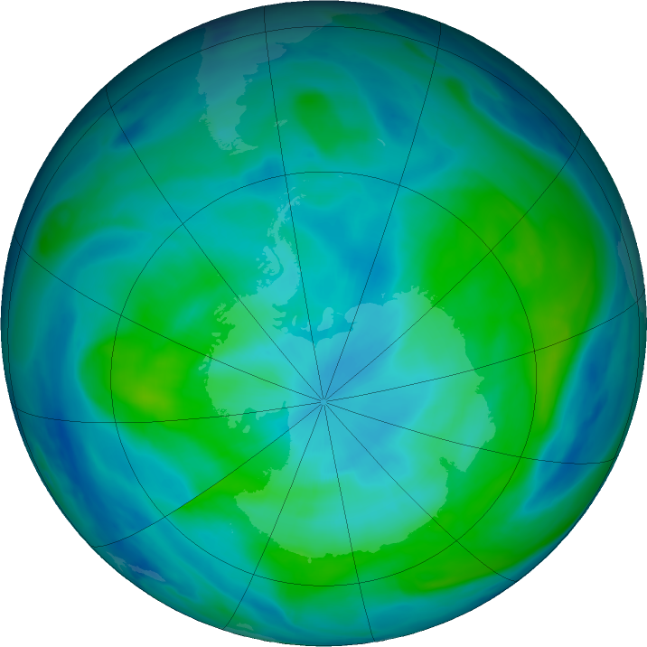 Antarctic ozone map for 08 March 2020