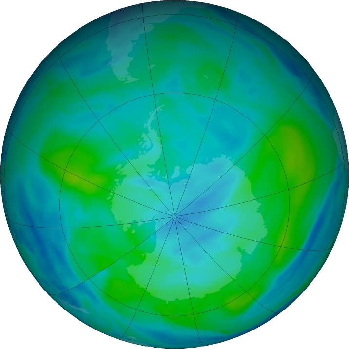 Antarctic ozone map for 09 March 2020