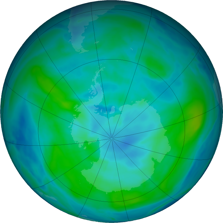 Antarctic ozone map for 10 March 2020