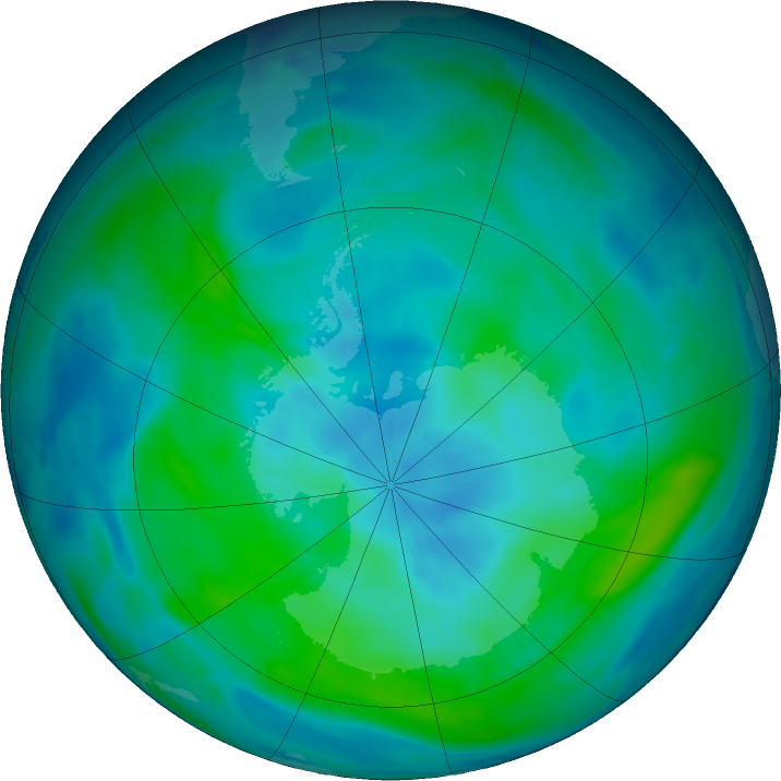 Antarctic ozone map for 11 March 2020