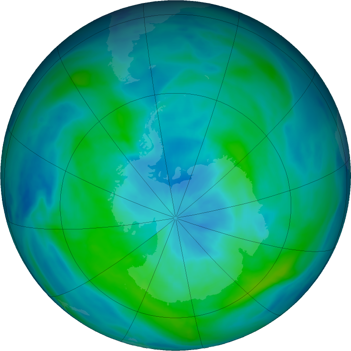 Antarctic ozone map for 12 March 2020