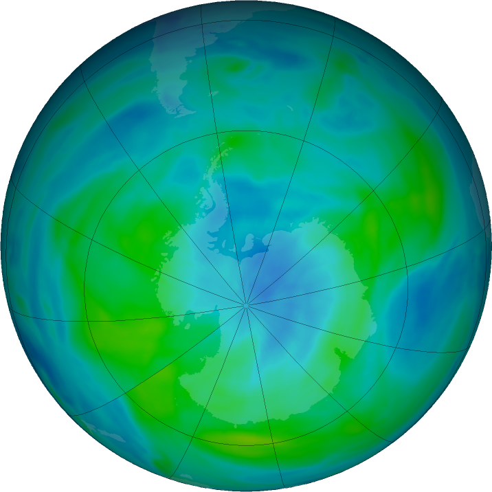 Antarctic ozone map for 14 March 2020