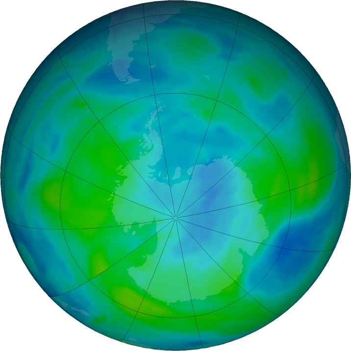 Antarctic ozone map for 15 March 2020