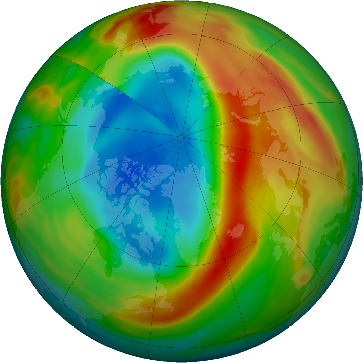 Arctic ozone map for 16 March 2020