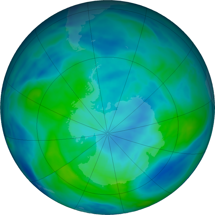 Antarctic ozone map for 16 March 2020