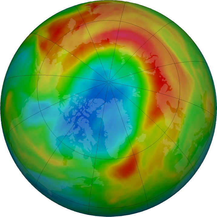 Arctic ozone map for 20 March 2020