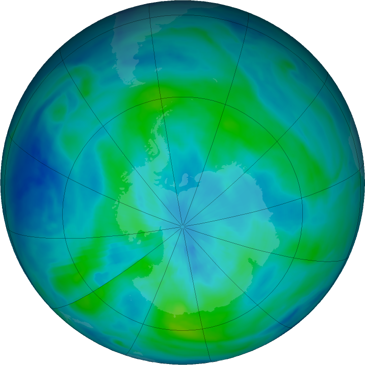 Antarctic ozone map for 20 March 2020