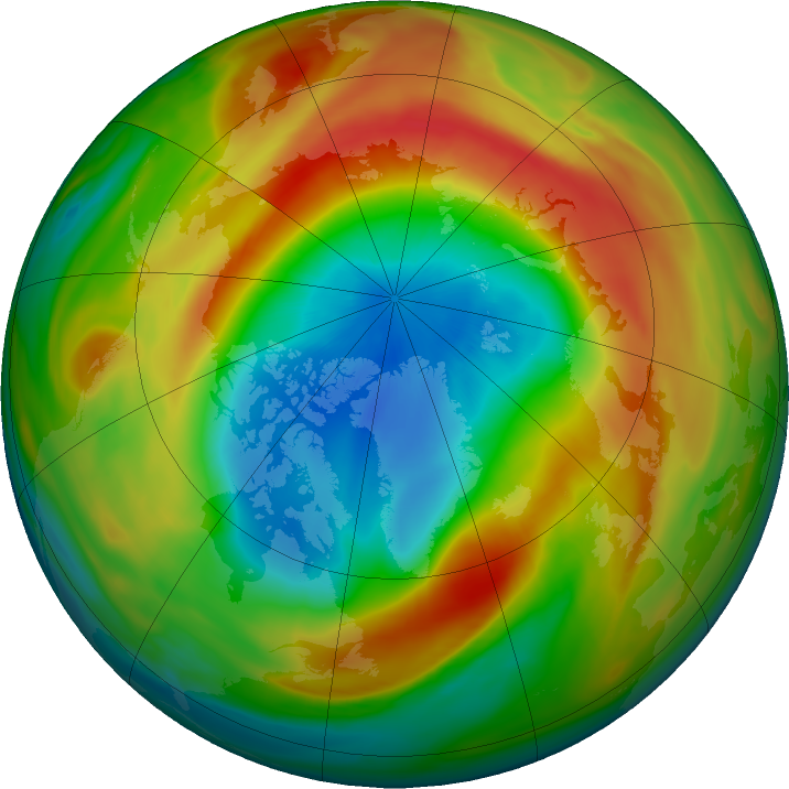 Arctic ozone map for 22 March 2020