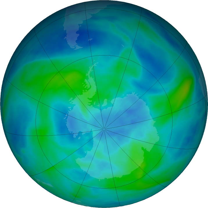 Antarctic ozone map for 25 March 2020