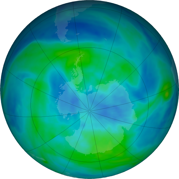 Antarctic ozone map for 26 March 2020