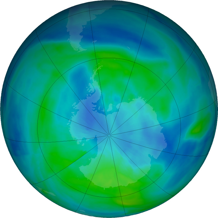 Antarctic ozone map for 27 March 2020