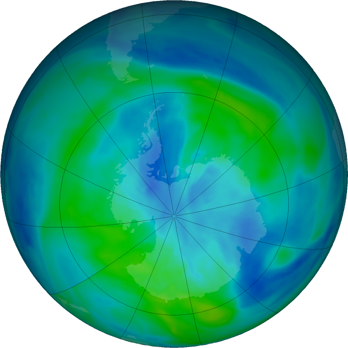 Antarctic ozone map for 28 March 2020