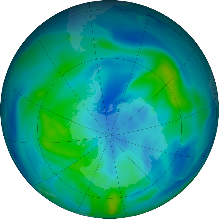 Antarctic ozone map for 29 March 2020