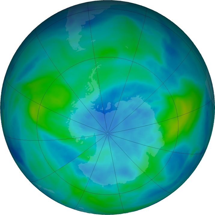 Antarctic ozone map for 31 March 2020