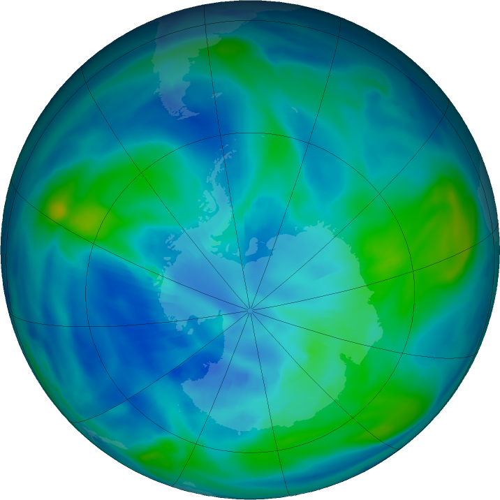 Antarctic ozone map for 06 April 2020