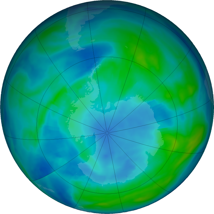 Antarctic ozone map for 26 April 2020