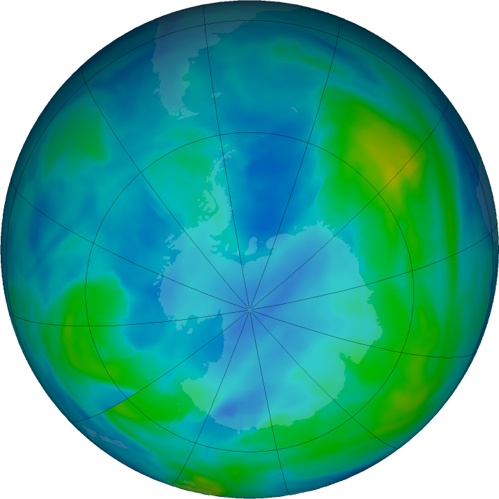 Antarctic ozone map for 30 April 2020