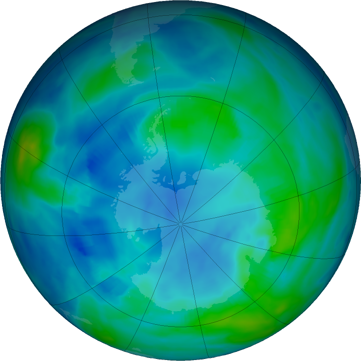 Antarctic ozone map for 03 May 2020
