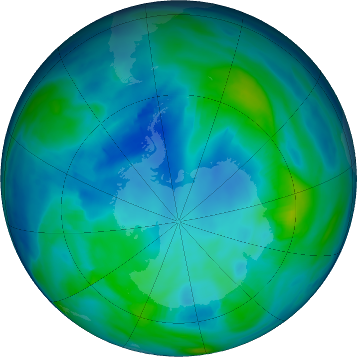 Antarctic ozone map for 06 May 2020